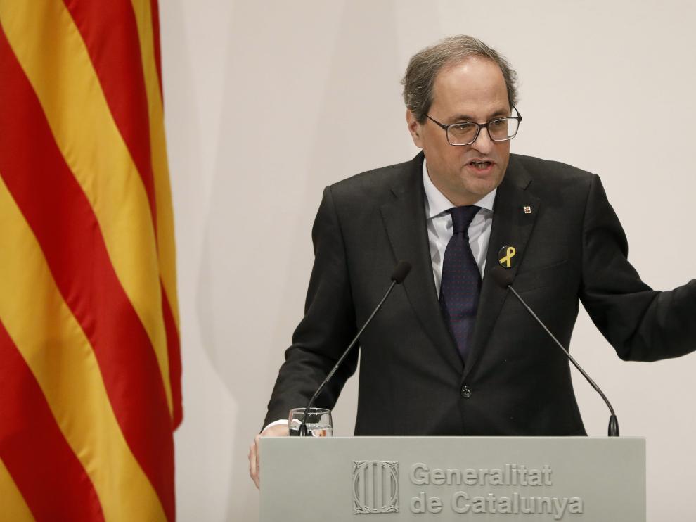 Quim Torra en la rueda de prensa para anunciar el ganador del XXX Premio Internacional de Cataluña