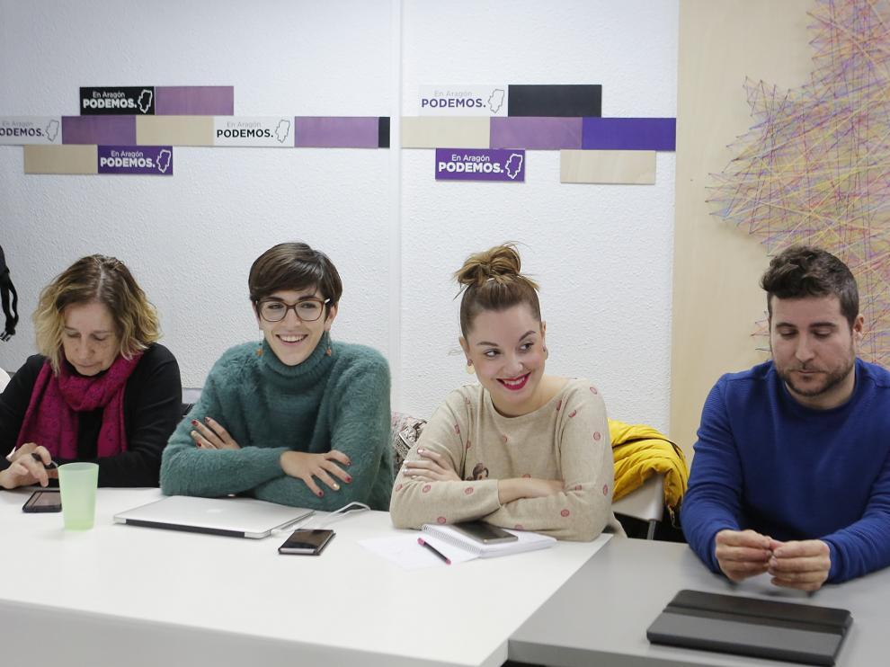 El secretario general de Podemos en Aragón, Nacho Escartín, en el Consejo Ciudadano Autonómico.