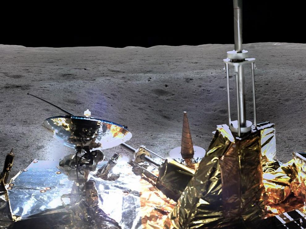 Un detalle de la foto panorámica enviada por la Chang'e 4.
