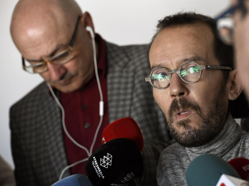 El secretario de Organización de Podemos, Pablo Echenique, este sábado.