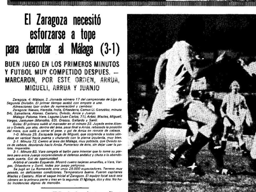 Ficha técnica de la crónica de HERALDO DE ARAGÓN del Real Zaragoza-Málaga de 1977.