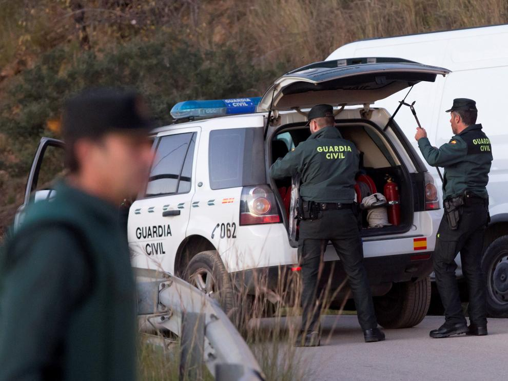 La Guardia Civil, en la zona del accidente.
