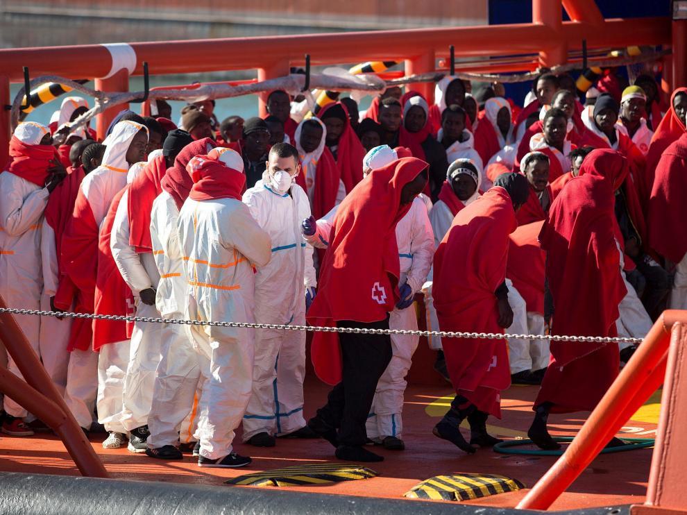 Imagen de otro rescate reciente en el mar de Alborán.