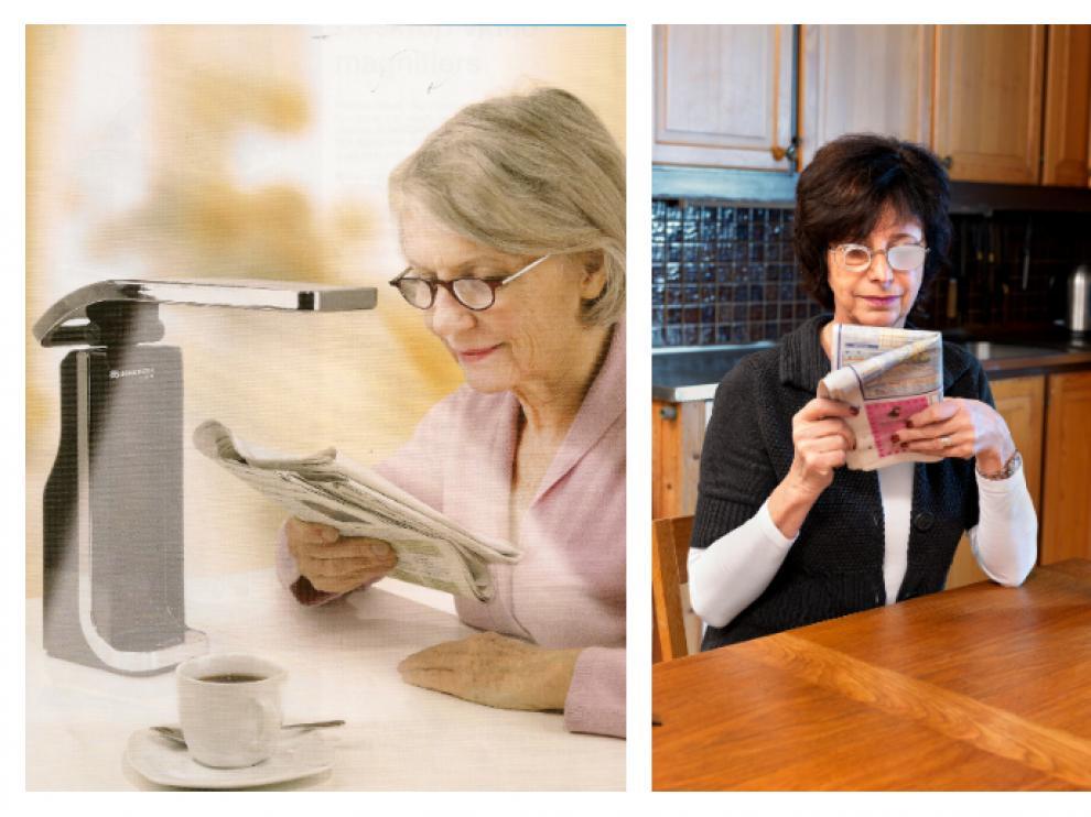 De izquierda a derecha: microscopio con flexo especial para pacientes con baja visión; gafas telemicroscopio, que amplían el campo visual, ayuda a enfocar y mejora la profundidad visual; y una ayuda electrónica con variación de aumentos, que puede facilitar la lectura.