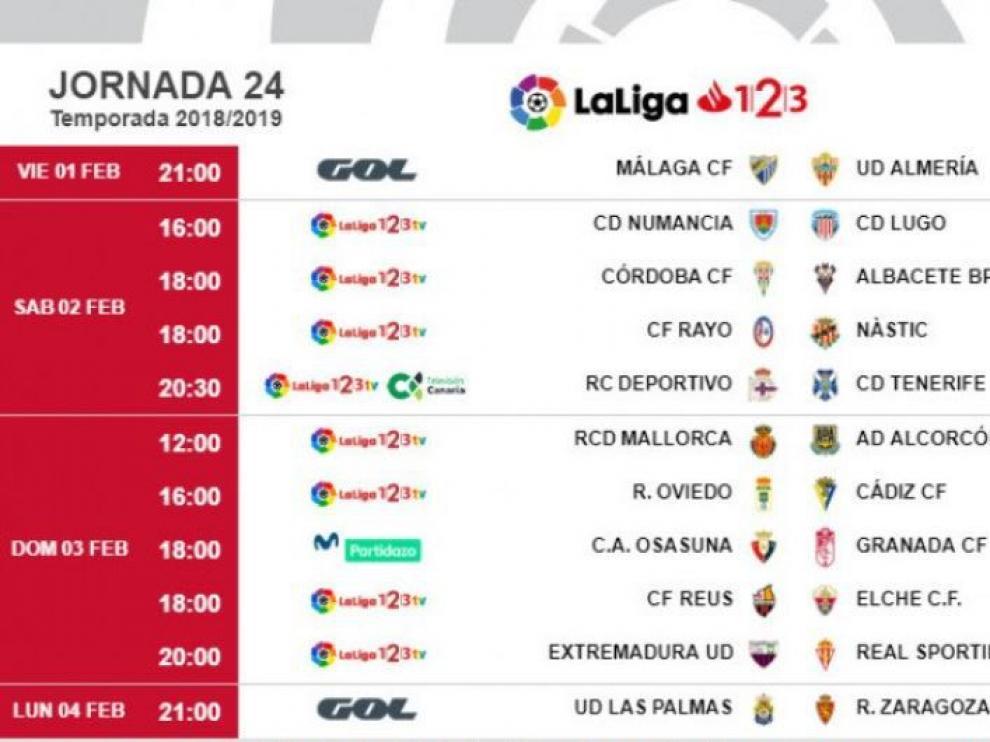 Horarios de la 24ª jornada de Segunda División, en la que el Real Zaragoza jugará en Las Palmas.