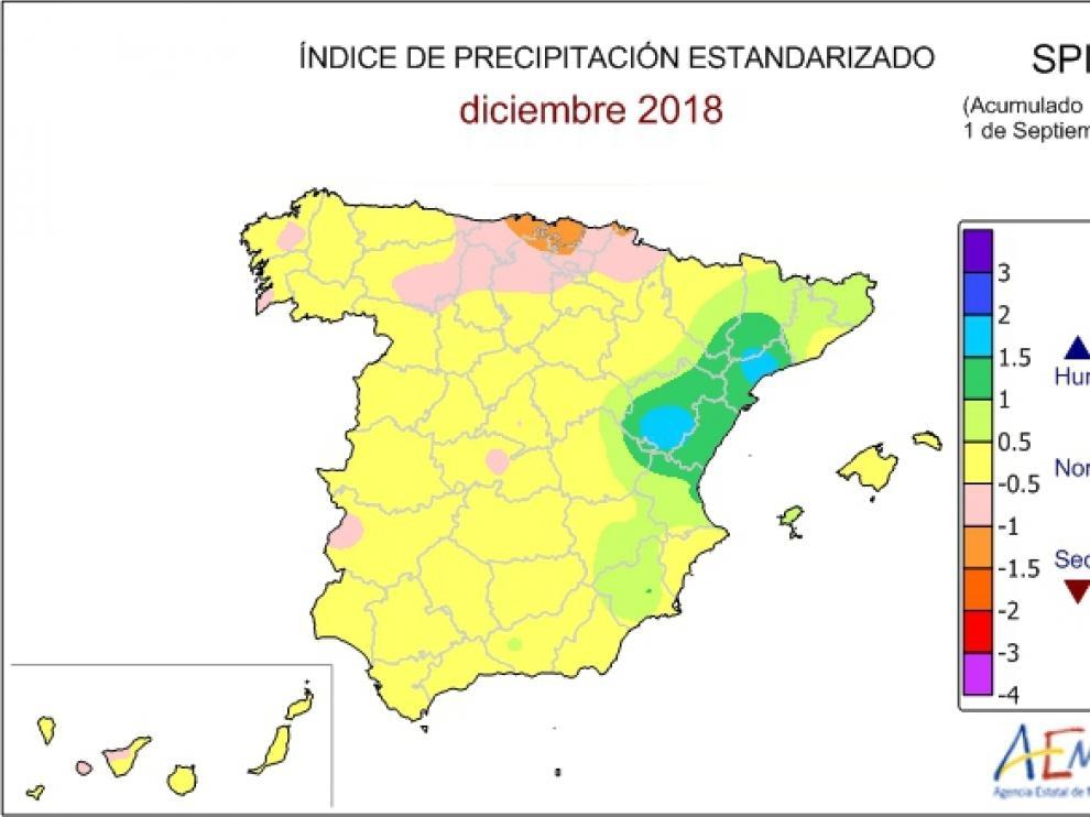 Mapa de sequía en el presente año agrícola de la Aemet.