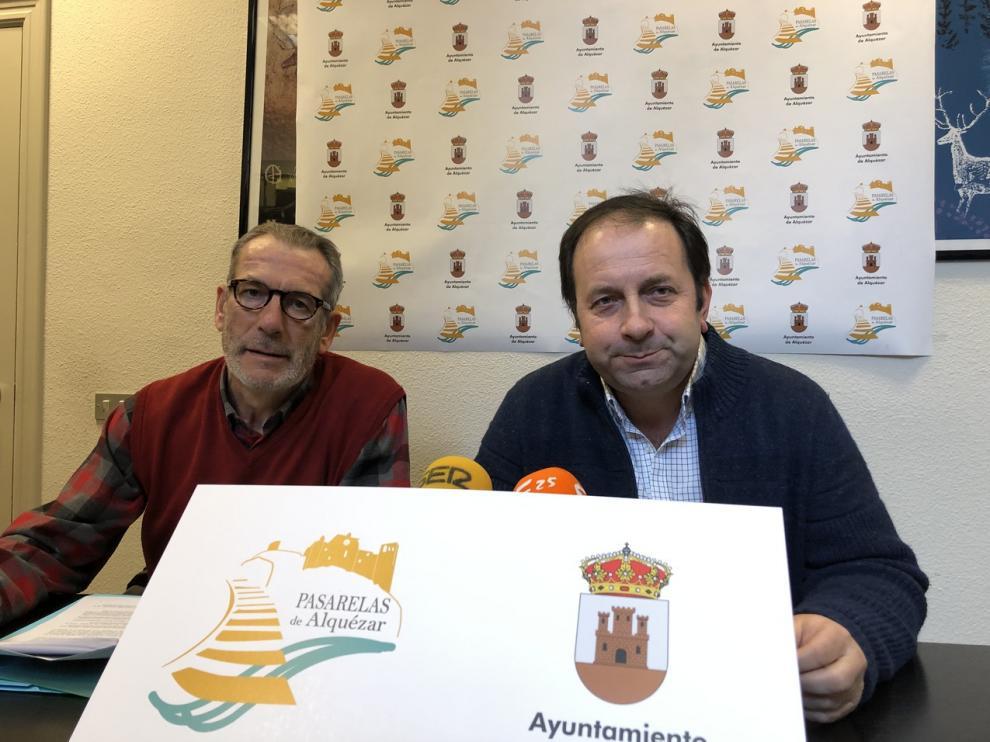 Benjamín Soto y Mariano Altemir, alcalde de Alquézar.