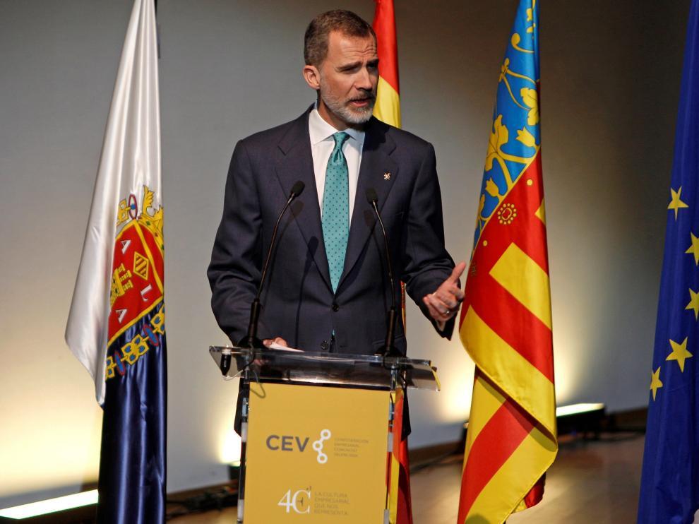 Felipe VI, durante su intervención en el acto de este viernes en Alicante.