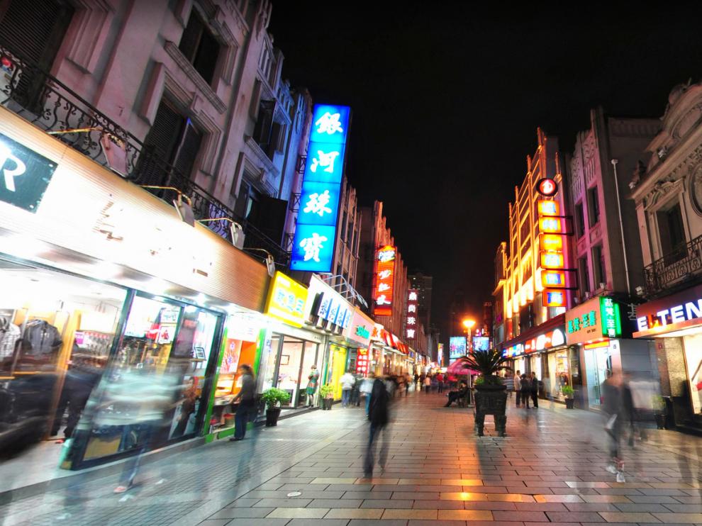 Calle comercial de Wuma, en la ciudad de Wenzhou