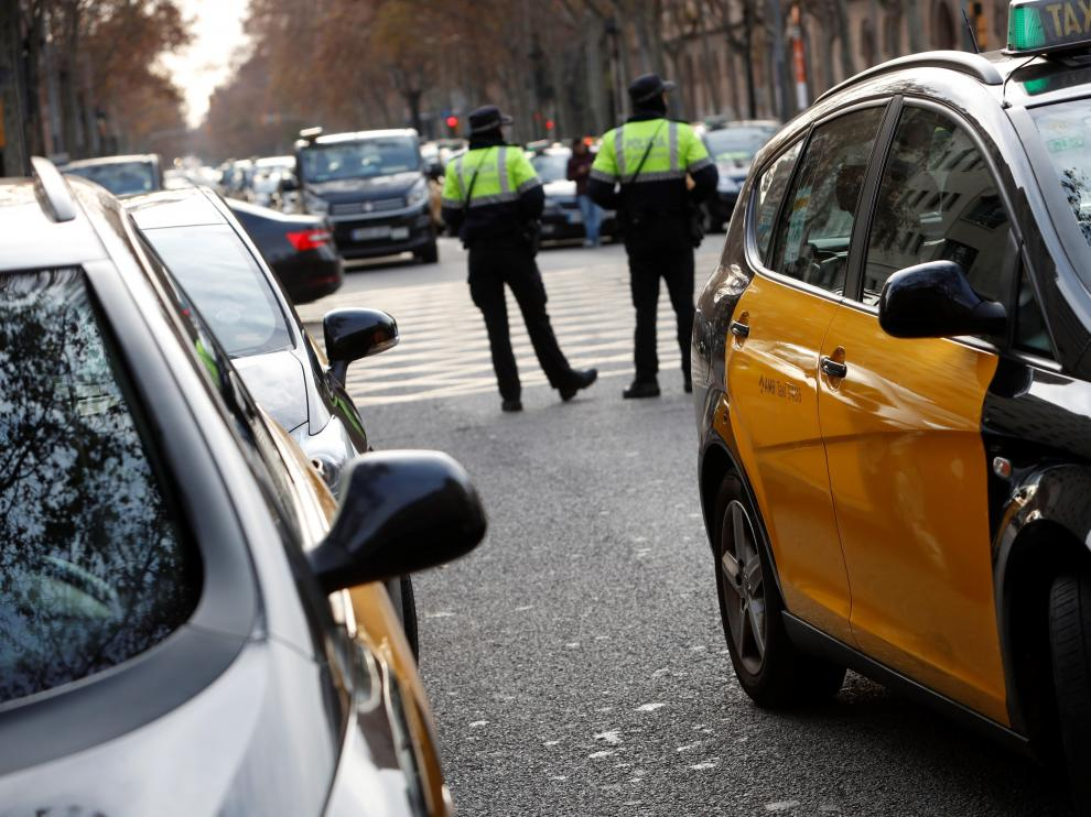 Una imagen de la huelga anunciada por el sector del taxi este mes de enero en Barcelona.