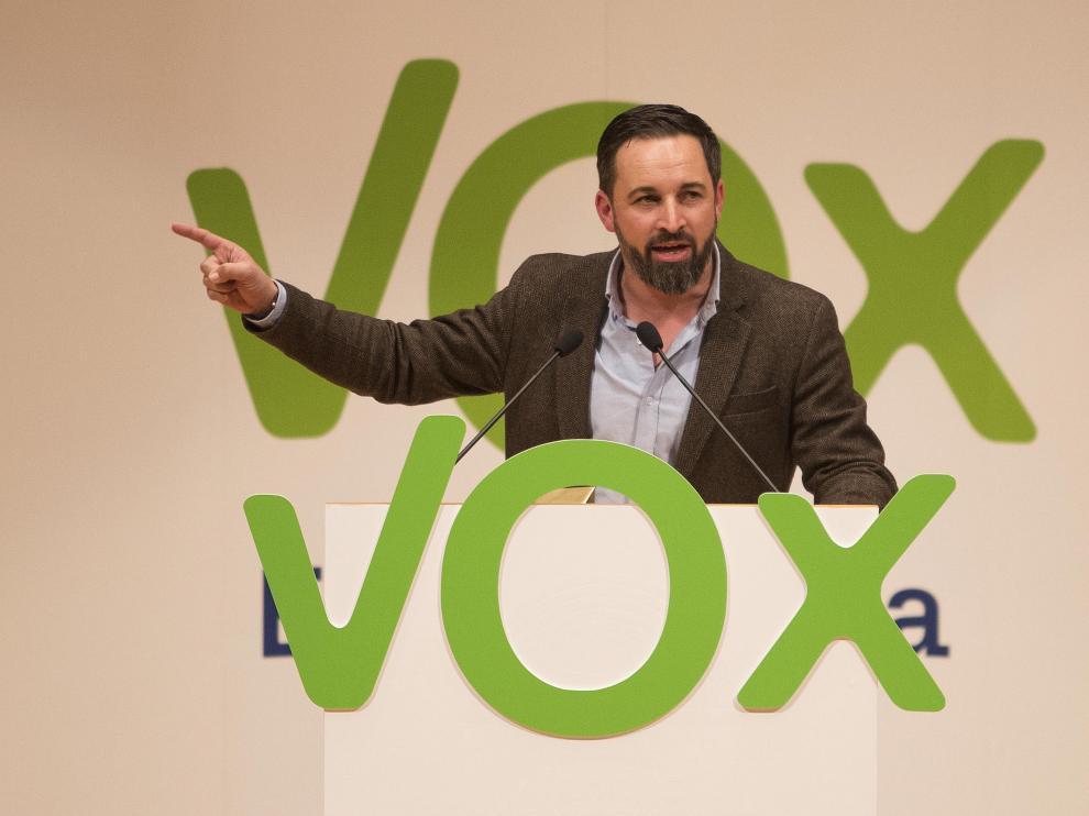 El líder de Vox, Santiago Abascal, durante un mitin el pasado 17 de enero en Zaragoza.