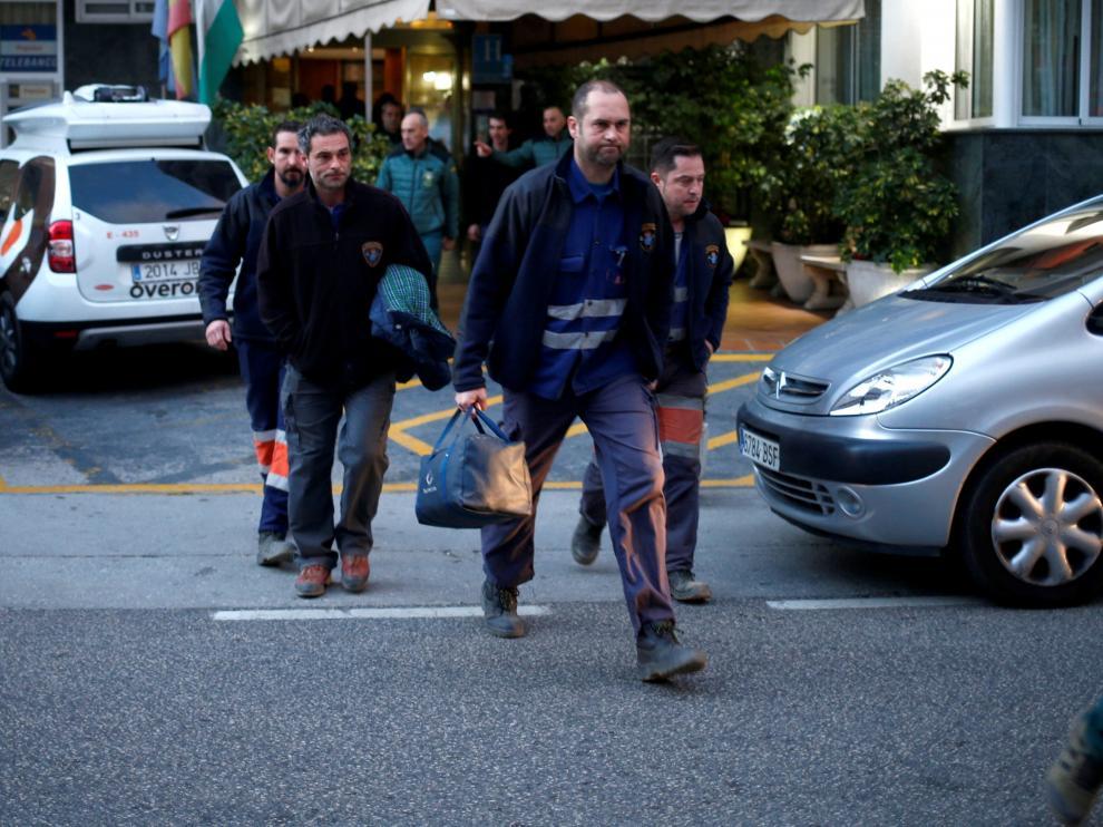 Los mineros asturianos que participaron en el rescate de Julen.