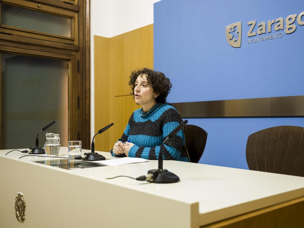 La concejala de Educación e Inclusión, Arantza Gracia, en rueda de prensa.