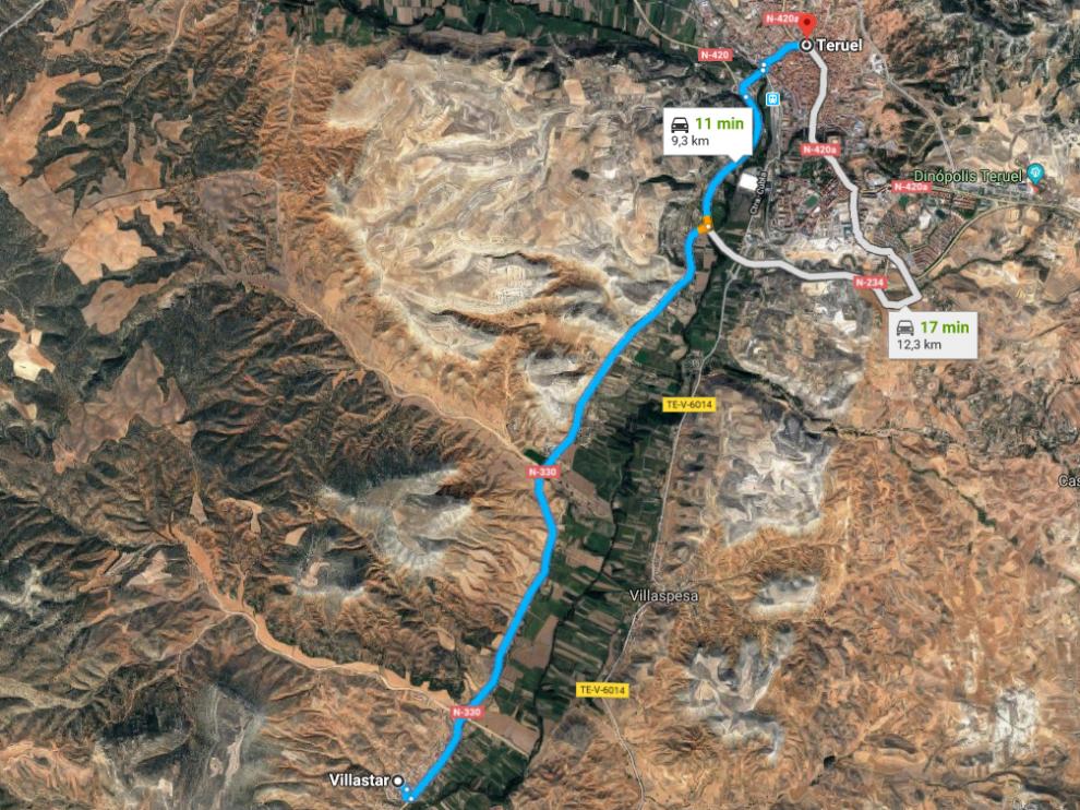 La N-330 entre Teruel y Villastar.