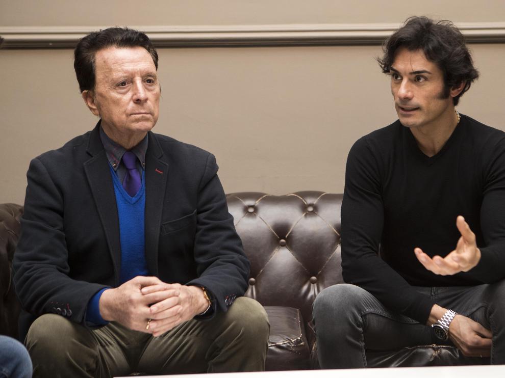 Paulita y Ortega Cano, durante la entrevista en el Gran Hotel de Zaragoza.