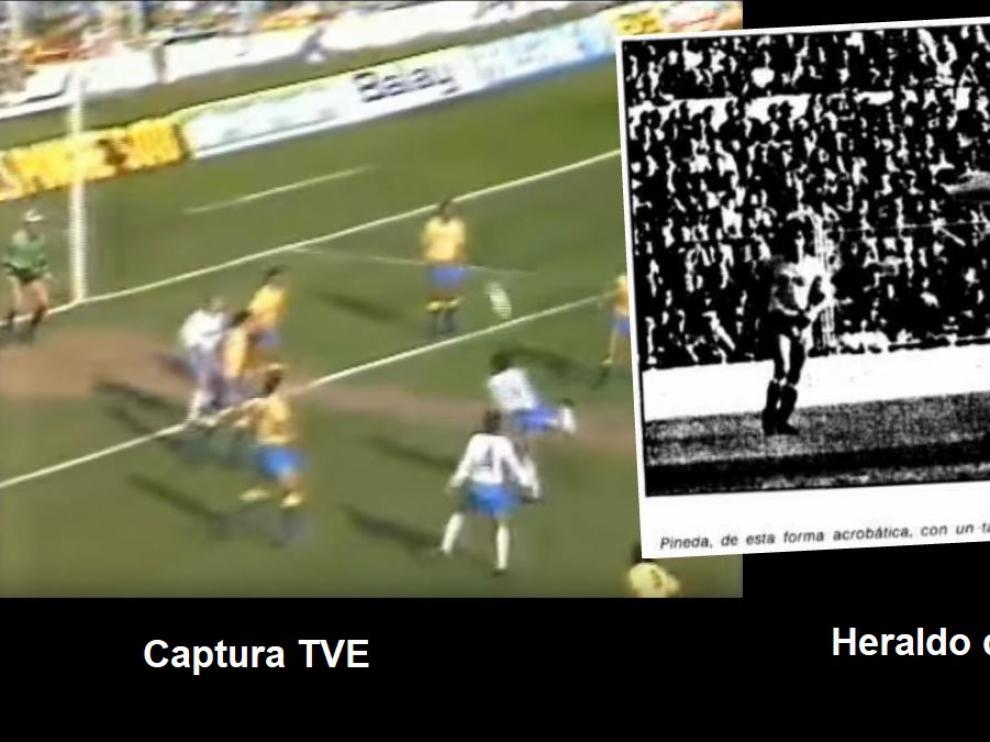 A la izda., la captura de las imágenes de Televisión Española que recogieron el golazo de Pineda, de espuela, en marzo de 1986. A la dcha., la fotografía con el instante del golpeo del balón que publicó HERALDO el día siguiente del partido, destacando su belleza.