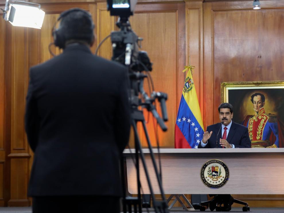 Maduro en una comparecencia grabada para televisión en Caracas