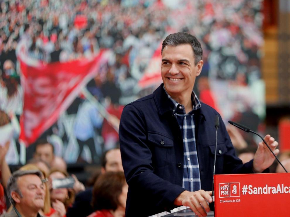 Pedro Sánchez en el acto de proclamación de Sandra Gómez como candidata socialista a la alcaldía de Valencia