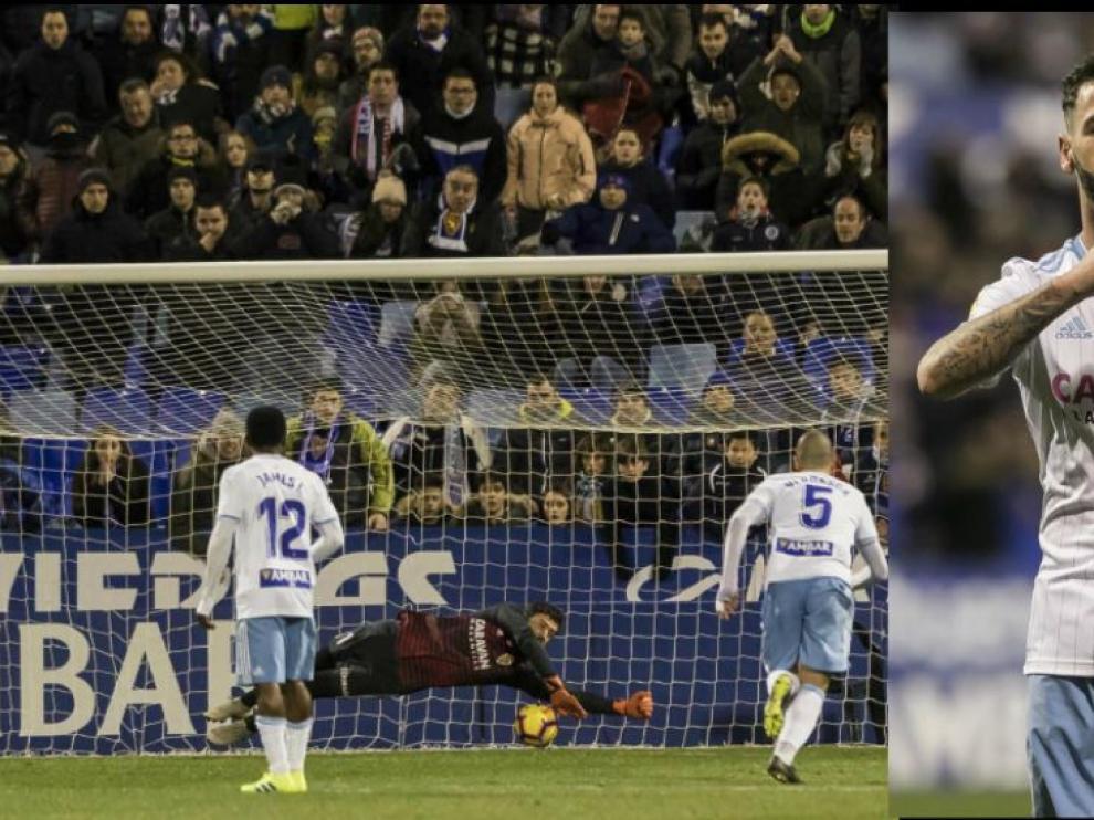 Cristian Álvarez (izda.) detiene el penalti lanzado por Alanis en el minuto 61 con 0-0. A la dcha., Álvaro Vázquez celebra la consecución del 1-0, en el minuto 75.
