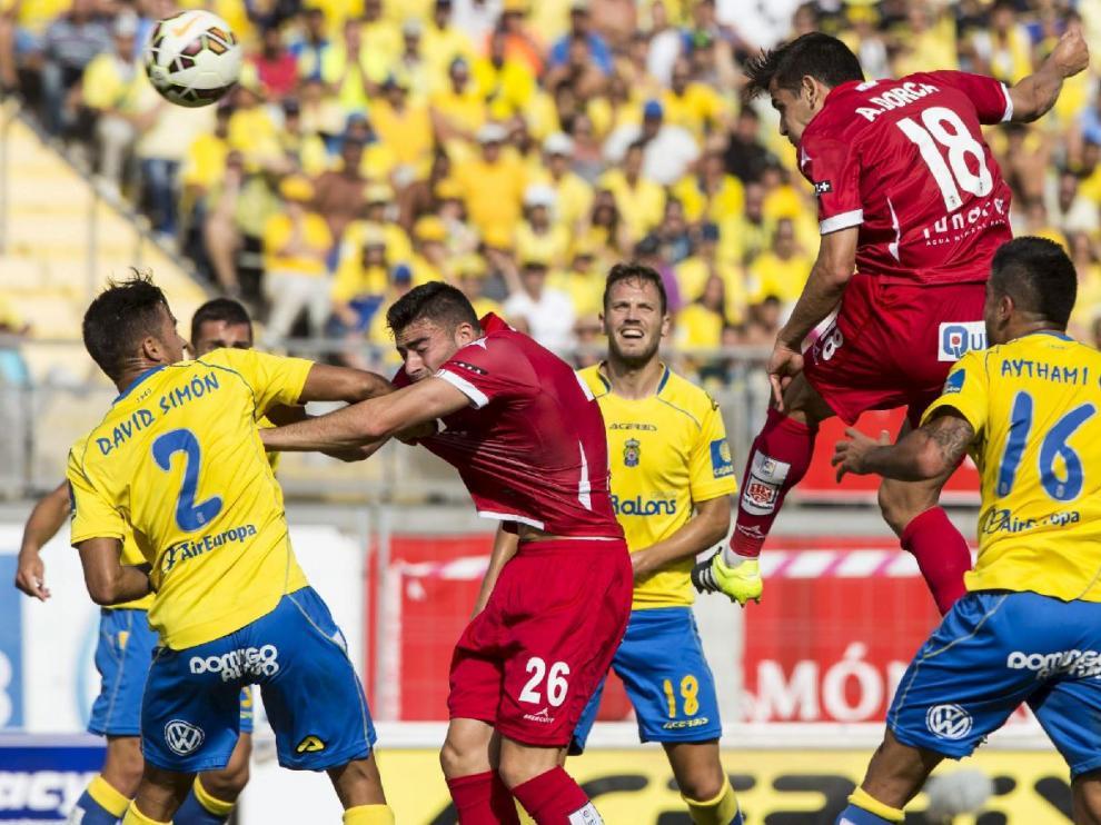 Dorca, en el cabezazo mediada la primera parte del partido de junio de 2015 en la Promoción, que acabó en el larguero tras tocar bajo palos Culio. Pudo ser el 0-1 y, probablemente, la clave el ascenso del Real Zaragoza que se perdió al final.