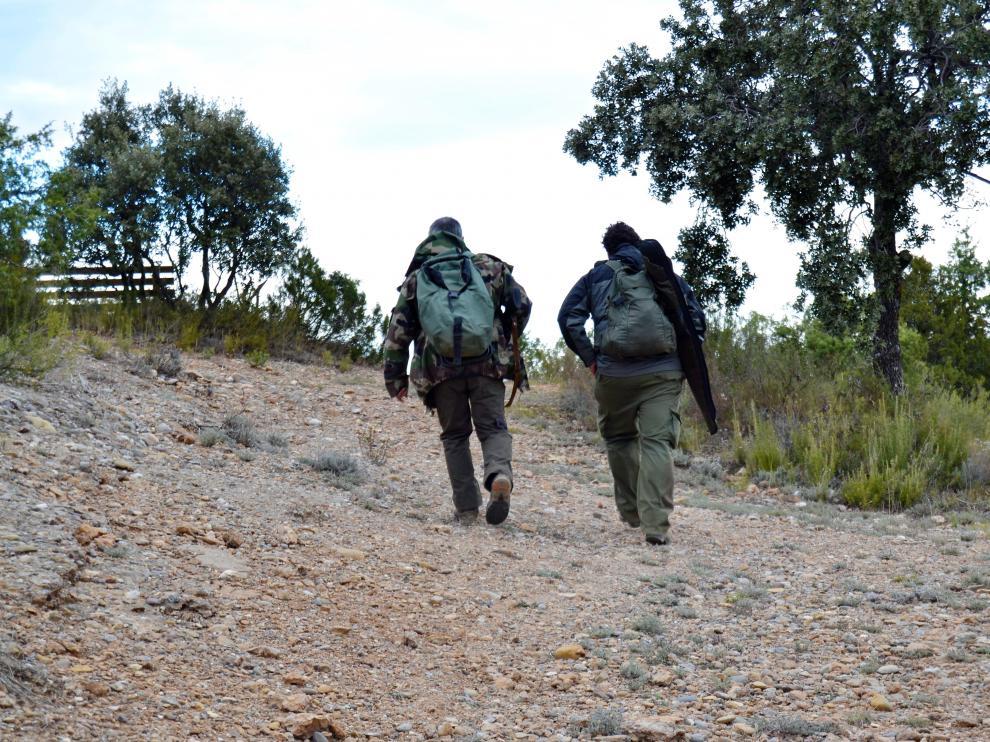 Cazadores durante una batida en la zona de Abizanda.