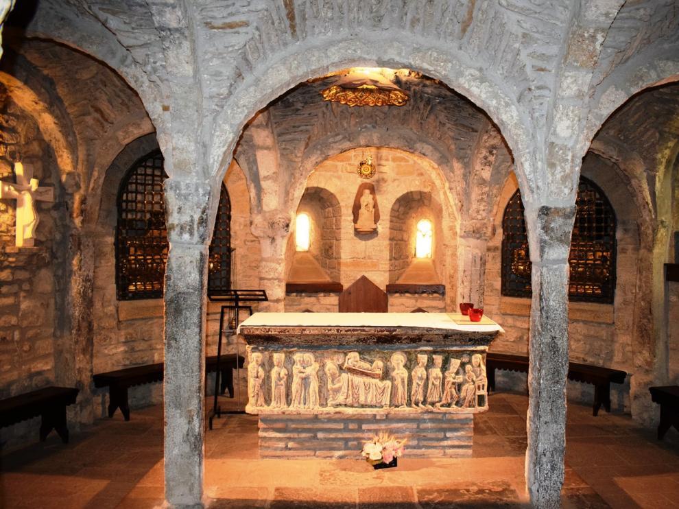 Cripta de la catedral de Roda en la que se guardan los restos de San Valero.