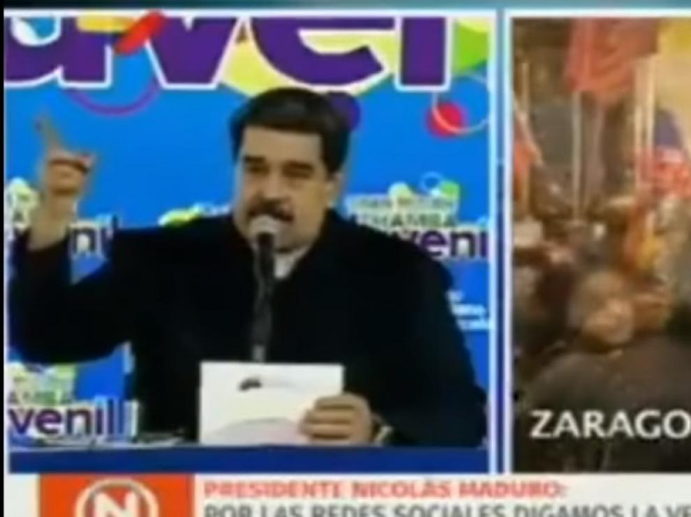"""Maduro agradece """"la solidaridad"""" con el chavismo por una concentración en Zaragoza: """"¡Que viva España!"""""""