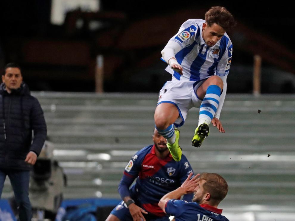 Pulido, durante el duelo con la Real Sociedad del pasado domingo.