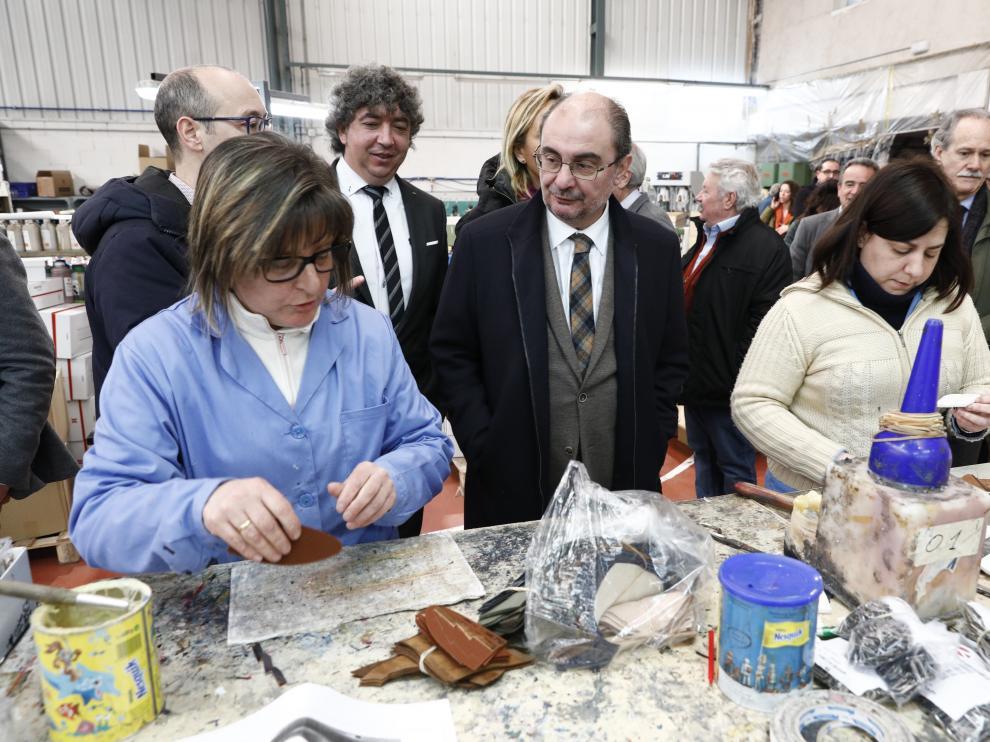 Javier Lambán, este martes en su visita a la comarca del Aranda.