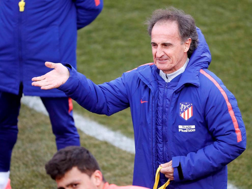 El Profe Ortega, este miércoles en el entrenamiento del Atlético de Madrid.