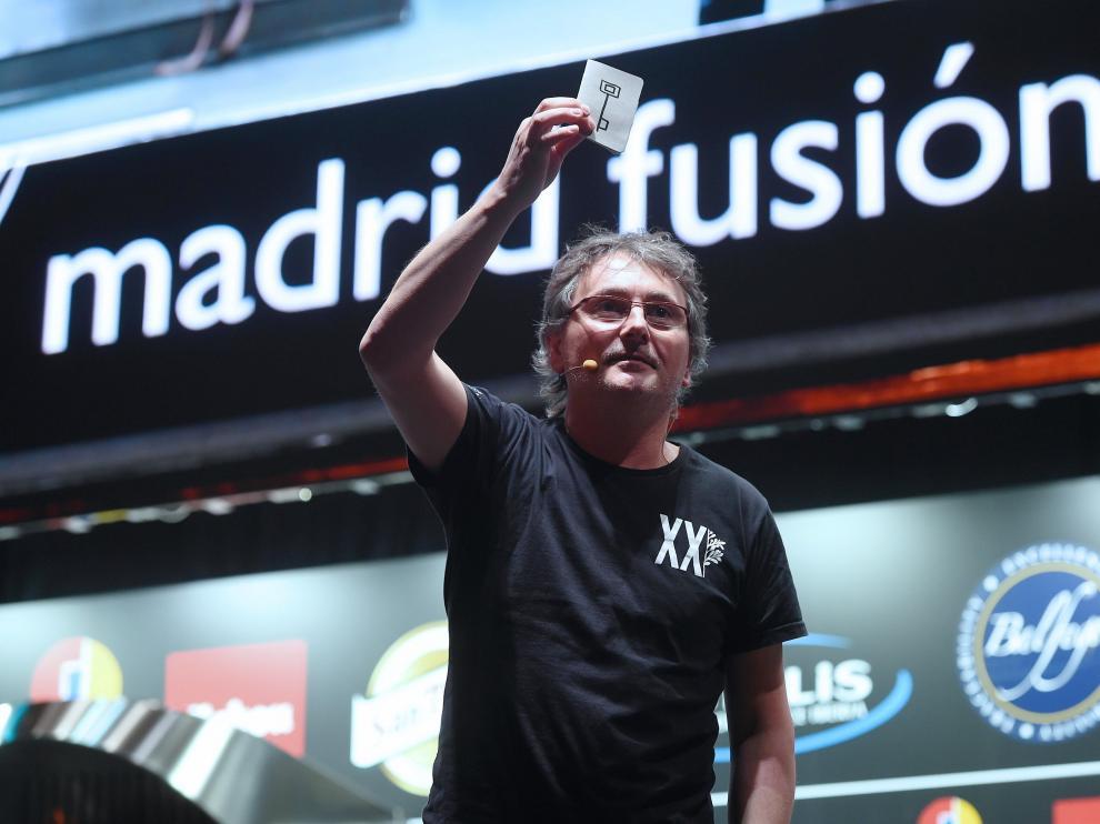 El cocinero vasco Andoni Luis Aduriz, alma de Mugaritz, durante su intervención.