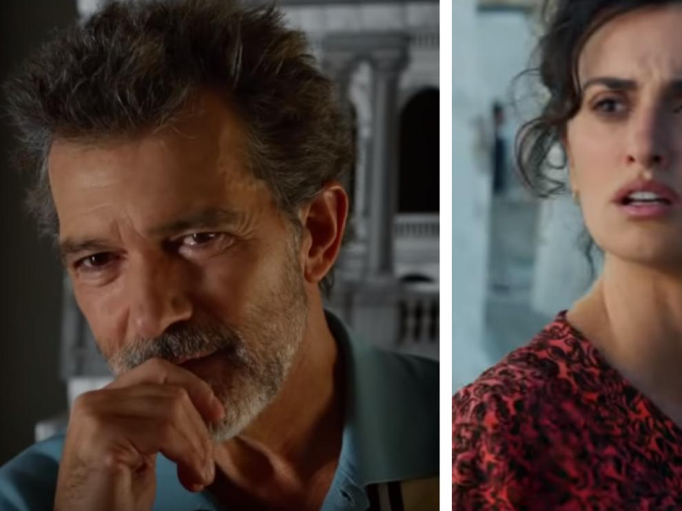 Antonio Banderas y Penélope Cruz en dos fotogramas de la película