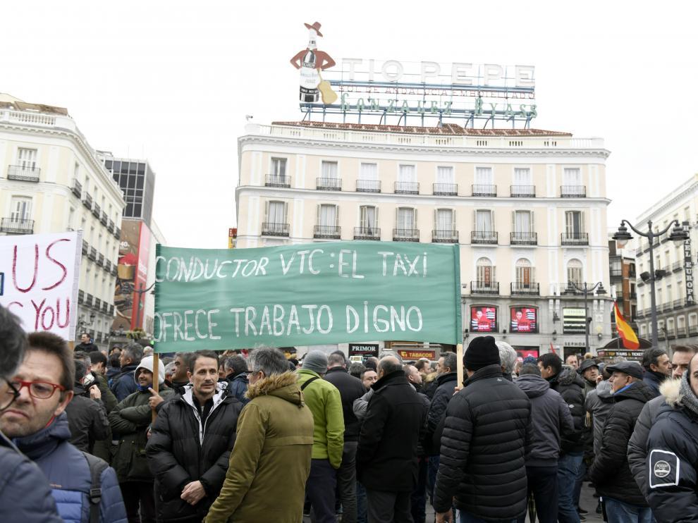 Manifestación de los taxistas en la Puerta del Sol.