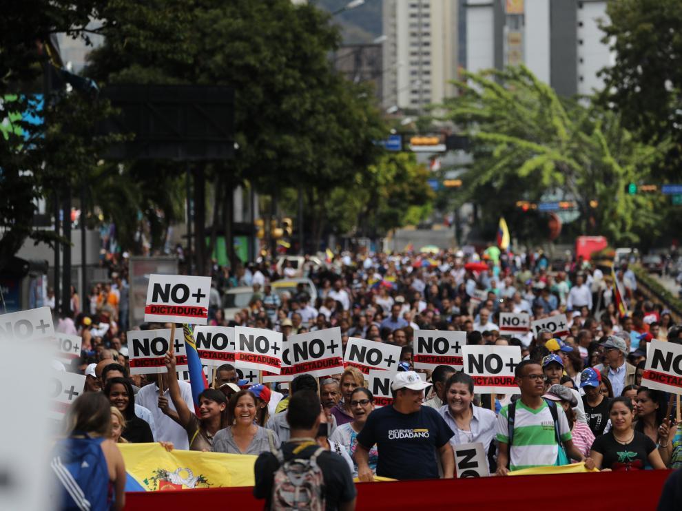 Manifestaciones en Caracas de los opositores a Maduro