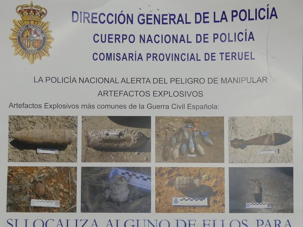 Cartel informativo de la Policía sobre explosivos de la Guerra Civil.