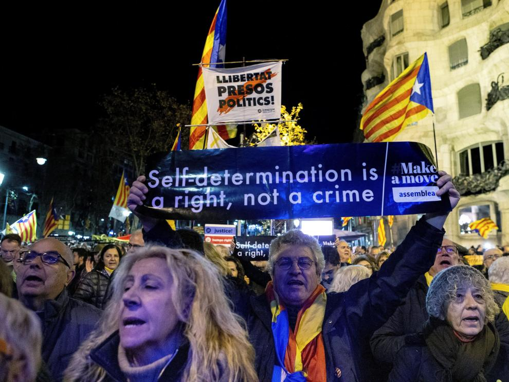 Concentración convocada este viernes por la ANC en Barcelona en apoyo a los independentistas.