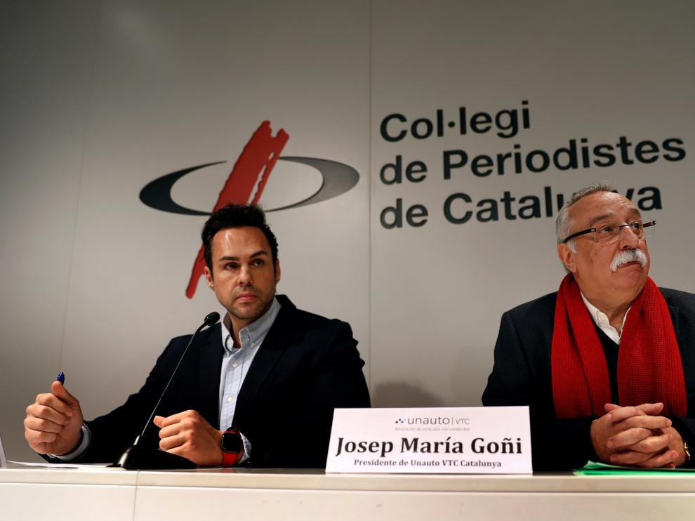 El presidente de la patronal Unauto VTC Cataluña, Josep María Goñi, y el presidente de Unauto VTC Nacional, Eduarto Martín.