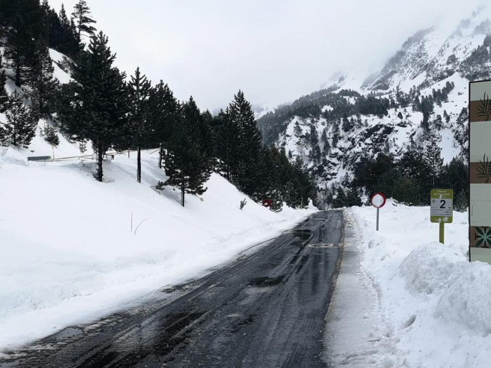 La carretera de Llanos del Hospital, que ha podido reabrirse este viernes