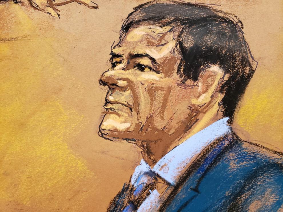 Dibujo del acusado Joaquín 'El Chapo'Guzmán Loera.