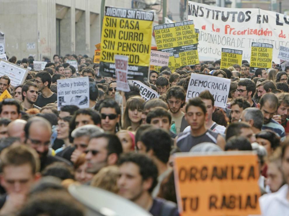 Imagen de archivo de una manifestación de jóvenes en Madrid reivindicando un futuro