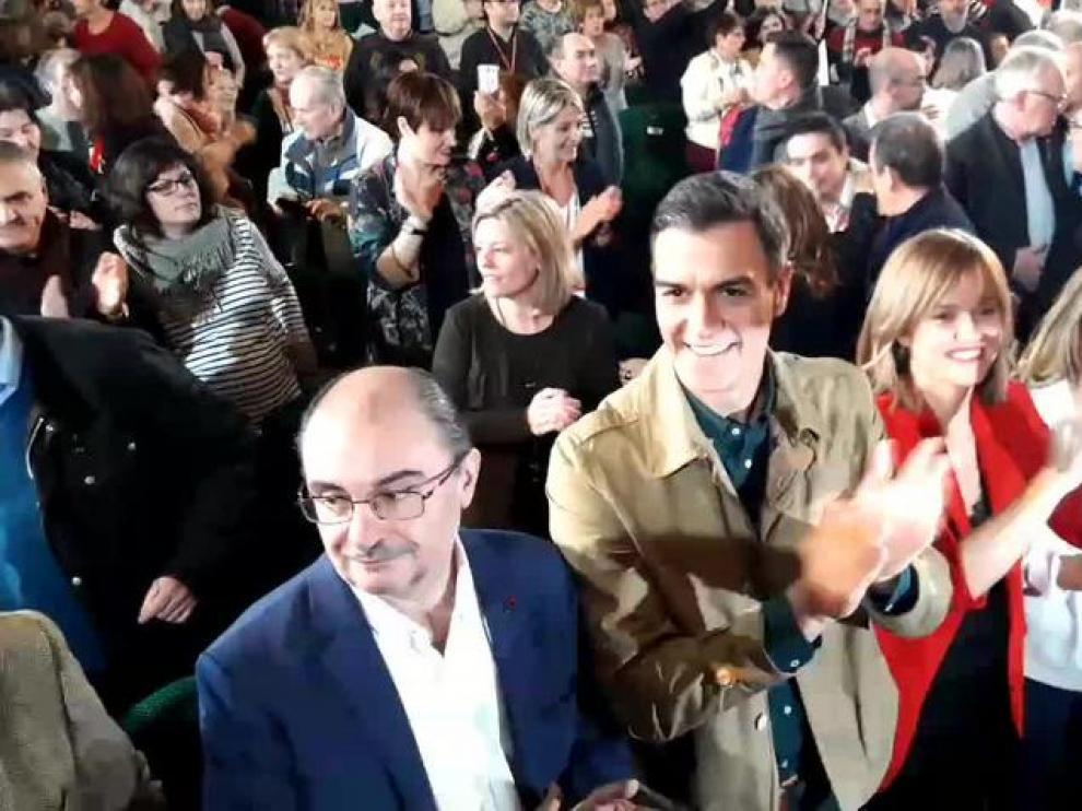 Pedro Sánchez en el acto del PSOE de este sábado en Zaragoza.