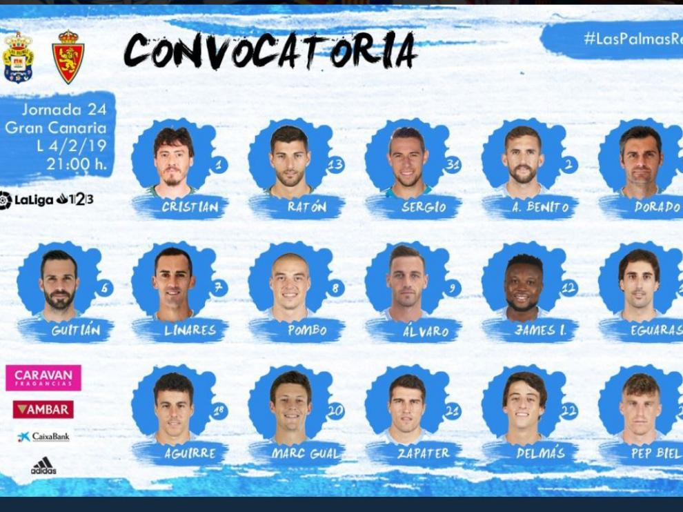 Lista de convocados del Real Zaragoza para el viaje a Las Palmas.