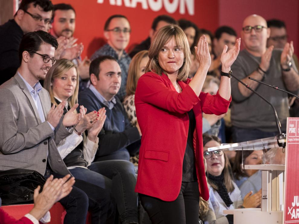 Pilar Alegría en el acto de presentación de los candidatos del PSOE Aragón.
