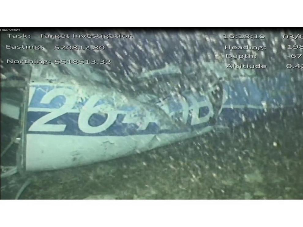 Imagen de los restos del avión en el fondo del Canal de la Mancha