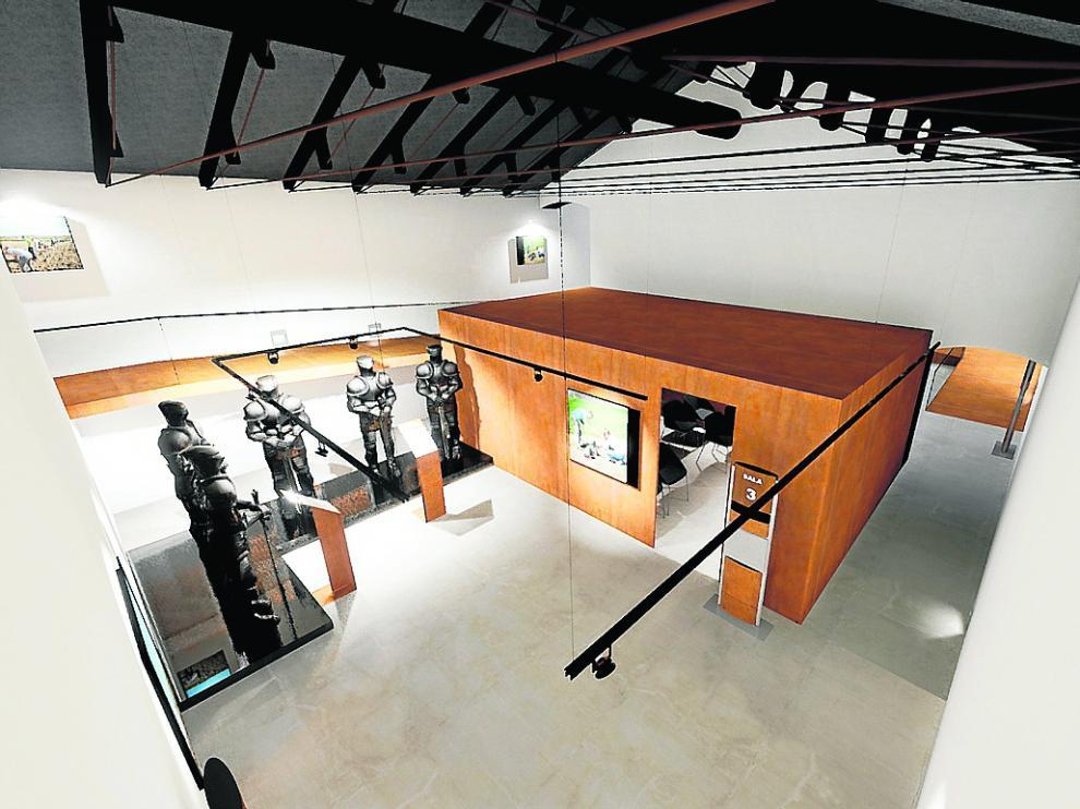 Recreación virtual de una de las salas del centro de interpretación y de su contenido expositivo