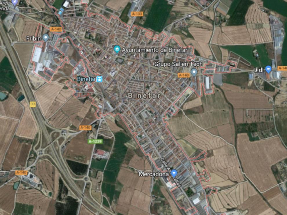 Vista satélite de Binéfar.