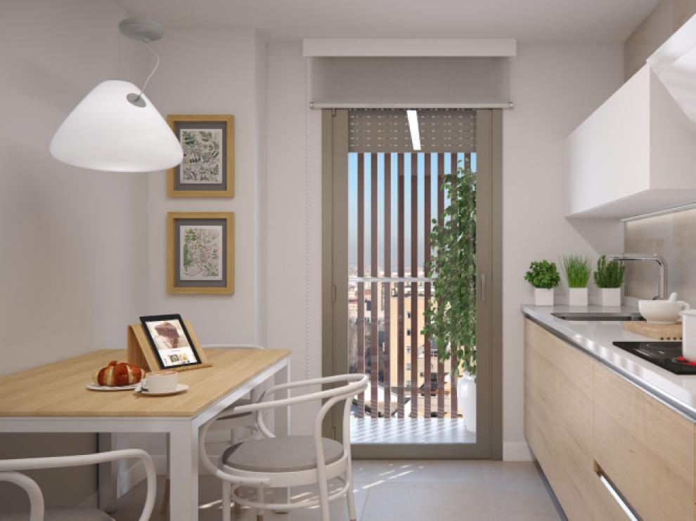 Las cocinas del edificio cuentan con un equipamiento integral de electrodomésticos.