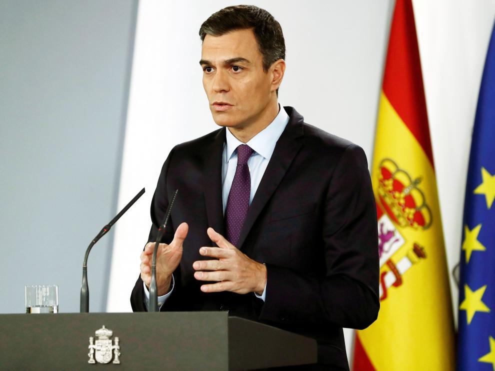 Pedro Sánchez durante su comparecencia en la Moncloa.