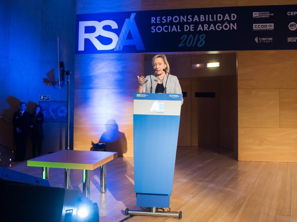 La consejera de Economía Marta Gastón en un foro de Responsabilidad Social Corporativa celebrado en 2018