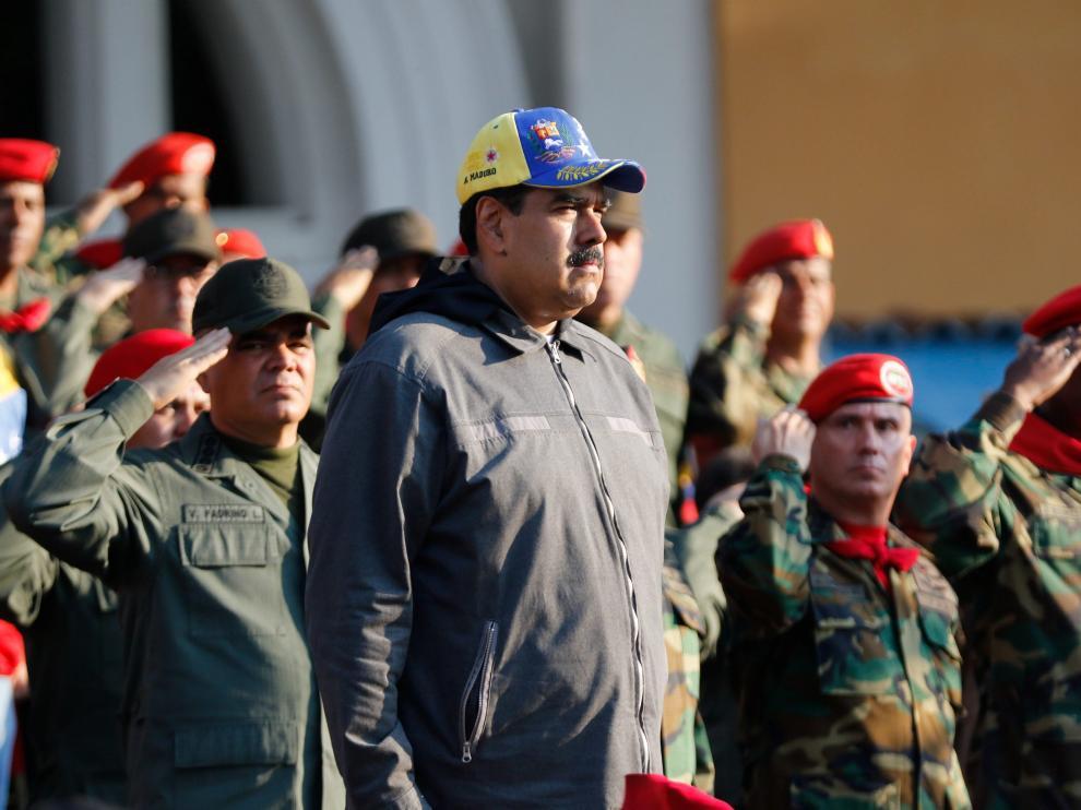 Nicolás Maduro durante un acto de Gobierno con militares este lunes en Maracay.